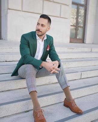 How to wear: tan leather brogues, grey plaid dress pants, white long sleeve shirt, dark green blazer