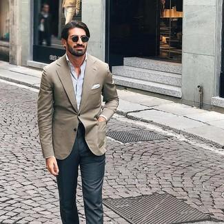How to wear: white pocket square, charcoal dress pants, light blue vertical striped long sleeve shirt, beige blazer