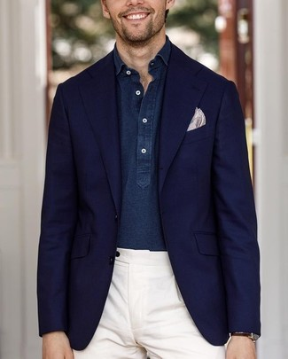 How to wear: beige print pocket square, white dress pants, navy chambray long sleeve shirt, navy blazer