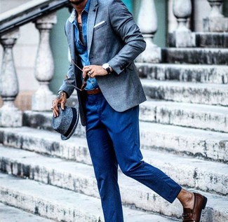 How to wear: dark brown leather loafers, blue wool dress pants, blue chambray long sleeve shirt, blue linen blazer
