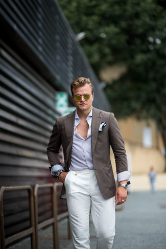 How to wear: white pocket square, white linen dress pants, white and blue vertical striped long sleeve shirt, brown blazer