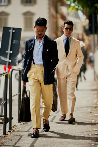 How to wear: dark brown leather tassel loafers, khaki dress pants, light blue vertical striped long sleeve shirt, navy blazer