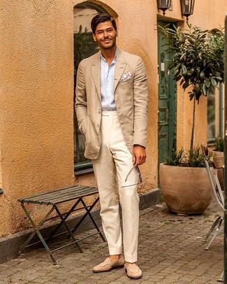 How to wear: beige suede loafers, beige dress pants, light blue vertical striped long sleeve shirt, beige blazer