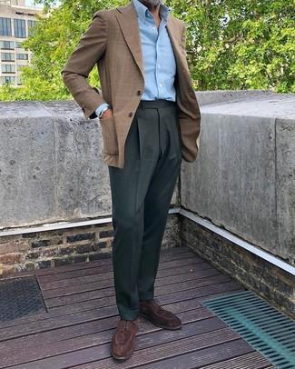 How to wear: dark brown suede derby shoes, dark green dress pants, light blue long sleeve shirt, brown plaid blazer