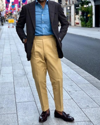 How to wear: black leather tassel loafers, khaki dress pants, blue long sleeve shirt, black check blazer