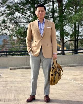 How to wear: burgundy leather oxford shoes, grey wool dress pants, light blue check long sleeve shirt, tan blazer
