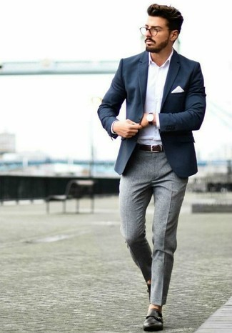 How to wear: black leather double monks, grey wool dress pants, white long sleeve shirt, navy blazer