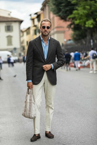 How to wear: dark brown suede tassel loafers, beige dress pants, light blue long sleeve shirt, dark brown blazer