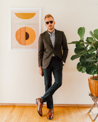 How to Wear a Dark Brown Plaid Blazer For Men: A dark brown plaid blazer and dark green dress pants are a refined combo that every modern man should have in his closet. Opt for brown leather derby shoes and ta-da: the outfit is complete.