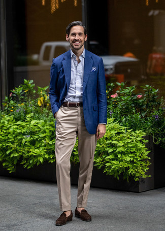 How to Wear a Navy Blazer For Men: A modern gentleman's sophisticated wardrobe should always include such essentials as a navy blazer and beige dress pants. Look at how well this look goes with dark brown suede loafers.