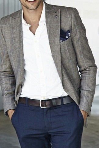 How to wear: navy and white print pocket square, navy dress pants, white long sleeve shirt, grey plaid blazer