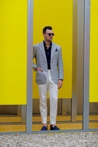 How to Wear Navy Suede Tassel Loafers: Loving the way this combination of a white and navy plaid blazer and white dress pants immediately makes you look sharp and polished. Opt for navy suede tassel loafers to tie the whole look together.