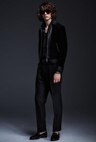 How to wear: black leather loafers, black dress pants, black long sleeve shirt, black bomber jacket
