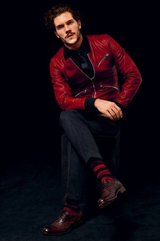 How to wear: dark brown leather brogues, charcoal dress pants, black long sleeve shirt, red leather bomber jacket