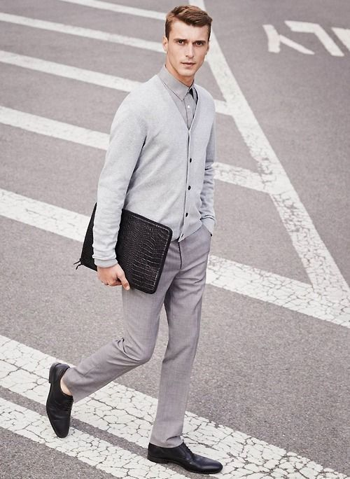 Men S Black Leather Oxford Shoes Grey Dress Pants Grey Long Sleeve