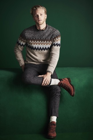 How to wear: tobacco suede casual boots, charcoal wool dress pants, brown plaid long sleeve shirt, beige fair isle crew-neck sweater