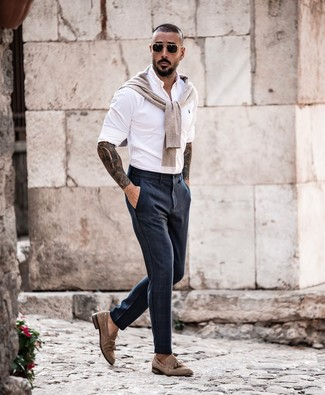 How to wear: brown suede tassel loafers, navy dress pants, white long sleeve shirt, beige crew-neck sweater