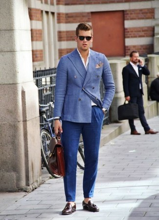 How to wear: burgundy leather tassel loafers, blue dress pants, white long sleeve shirt, blue double breasted blazer
