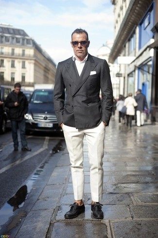 How to wear: black leather double monks, white dress pants, white long sleeve shirt, charcoal vertical striped double breasted blazer