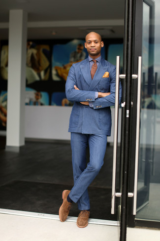 How to wear: tan suede oxford shoes, blue dress pants, blue long sleeve shirt, blue double breasted blazer