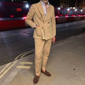 How to wear: dark brown suede tassel loafers, khaki dress pants, light violet vertical striped long sleeve shirt, tan double breasted blazer