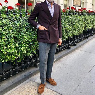 How to wear: tobacco suede tassel loafers, grey wool dress pants, white and red and navy gingham long sleeve shirt, burgundy double breasted blazer