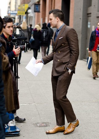 How to wear: tan leather double monks, dark brown dress pants, grey long sleeve shirt, dark brown double breasted blazer