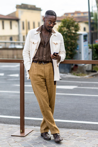 How to wear: dark brown leather derby shoes, khaki linen dress pants, brown vertical striped long sleeve shirt, white field jacket
