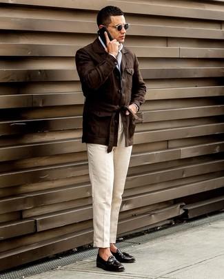 How to wear: black leather tassel loafers, beige linen dress pants, white long sleeve shirt, dark brown linen field jacket