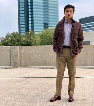 How to wear: brown leather brogue boots, khaki dress pants, purple vertical striped long sleeve shirt, dark brown linen field jacket