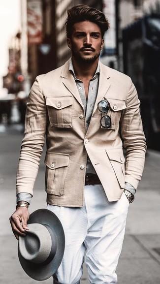 How to wear: grey wool hat, white dress pants, grey long sleeve shirt, beige military jacket