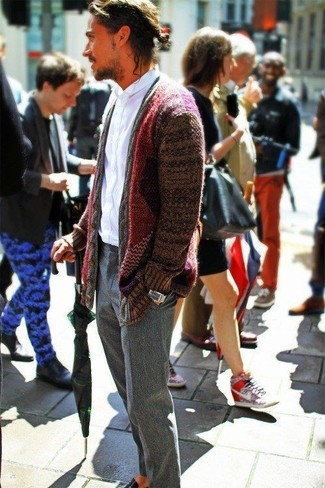 How to wear: black leather loafers, grey wool dress pants, white long sleeve shirt, burgundy shawl cardigan