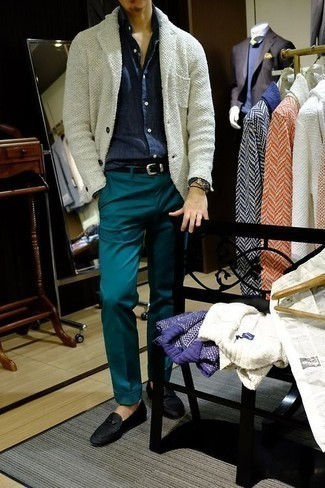 Men's Looks & Outfits: What To Wear In 2020: To look clean and smart, team a white shawl cardigan with teal dress pants. For extra fashion points, introduce black leather loafers to the equation.