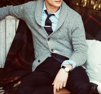 How to wear: black print tie, black dress pants, blue vertical striped long sleeve shirt, grey shawl cardigan