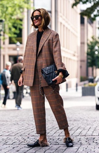 How to wear: black leather loafers, brown plaid dress pants, black long sleeve t-shirt, brown plaid blazer