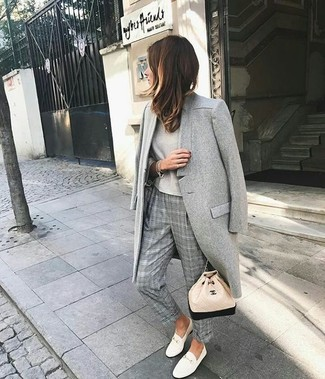 How to wear: white leather low top sneakers, grey plaid dress pants, beige long sleeve t-shirt, grey coat