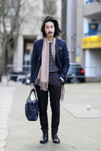 How to Wear a Navy Double Breasted Blazer For Men: For an outfit that's elegant and wow-worthy, reach for a navy double breasted blazer and navy dress pants. Here's how to dial down this ensemble: navy leather dress boots.