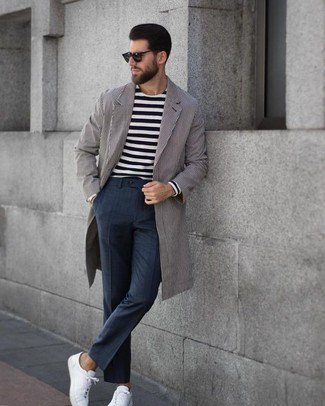 How to wear: white leather low top sneakers, charcoal check dress pants, black and white horizontal striped long sleeve t-shirt, grey vertical striped overcoat
