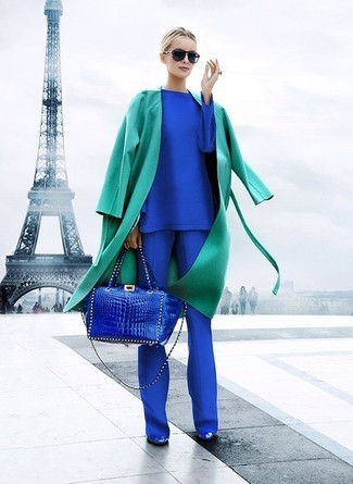 How to wear: blue leather pumps, blue dress pants, blue long sleeve t-shirt, green trenchcoat