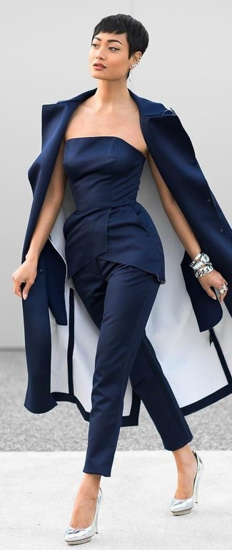How to wear: silver leather pumps, navy dress pants, navy peplum top, navy coat