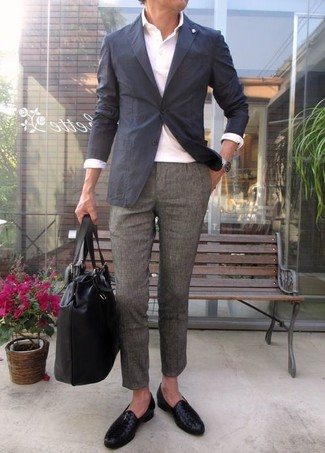 How to wear: black leather loafers, grey wool dress pants, white polo, charcoal blazer