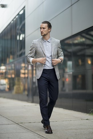 How to wear: black leather derby shoes, black dress pants, grey polo, grey plaid blazer