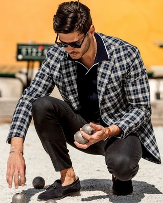 How to wear: black suede tassel loafers, black dress pants, navy polo, navy and white plaid blazer