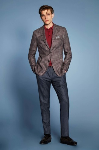 How to Wear Black Socks For Men: A brown plaid blazer and black socks are a cool go-to combination to have in your casual sartorial collection. Dark brown leather tassel loafers bring an elegant aesthetic to the look.