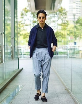 How to Wear Light Blue Dress Pants For Men: This sophisticated combo of a navy blazer and light blue dress pants is a must-try getup for today's gent. Complete your ensemble with a pair of black suede loafers and the whole look will come together perfectly.
