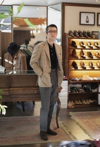 How to Wear Dark Brown Suede Derby Shoes: Teaming a tan check blazer with grey wool dress pants is an on-point choice for a dapper and refined ensemble. When not sure about the footwear, add a pair of dark brown suede derby shoes to this ensemble.