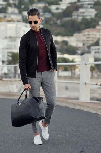 How to wear: white canvas low top sneakers, grey wool dress pants, burgundy polo, black bomber jacket