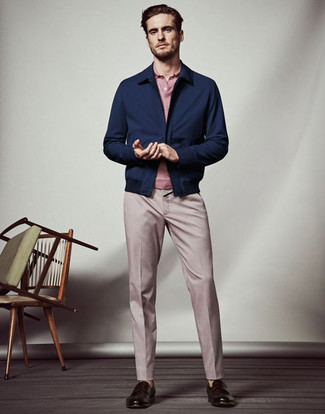 How to wear: dark brown leather loafers, pink dress pants, pink polo, navy harrington jacket