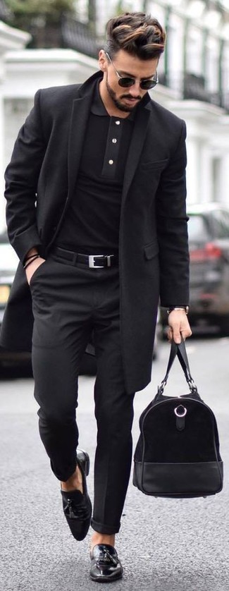 How to wear: black leather tassel loafers, black dress pants, black polo, black overcoat