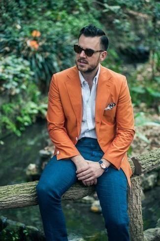 How to Wear Teal Dress Pants For Men: Wear an orange blazer with teal dress pants if you're aiming for a clean, trendy outfit.